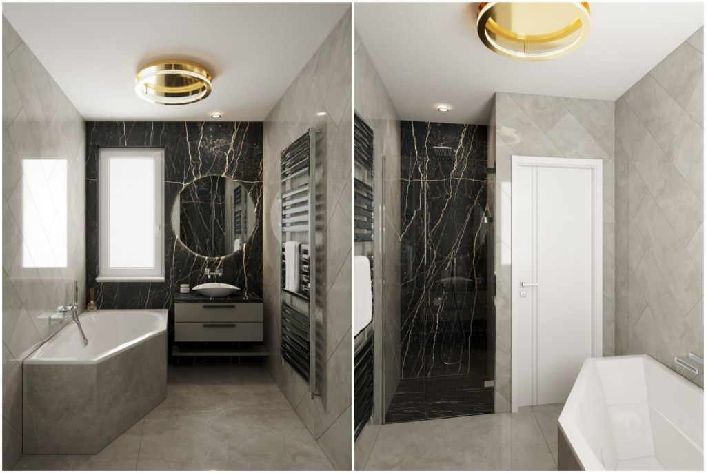 Fürdőszoba fekete márvány dekorelemmel