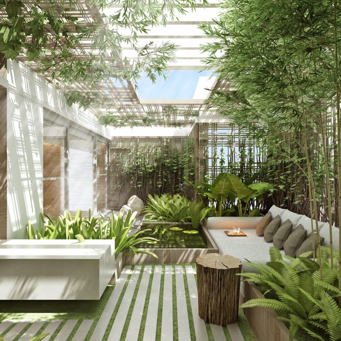 Belső kert sok bambusszal és egy kis kerti tóval