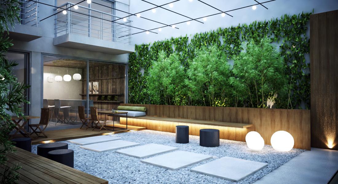Belső kert bambusszal és falra futtatott növényekkel