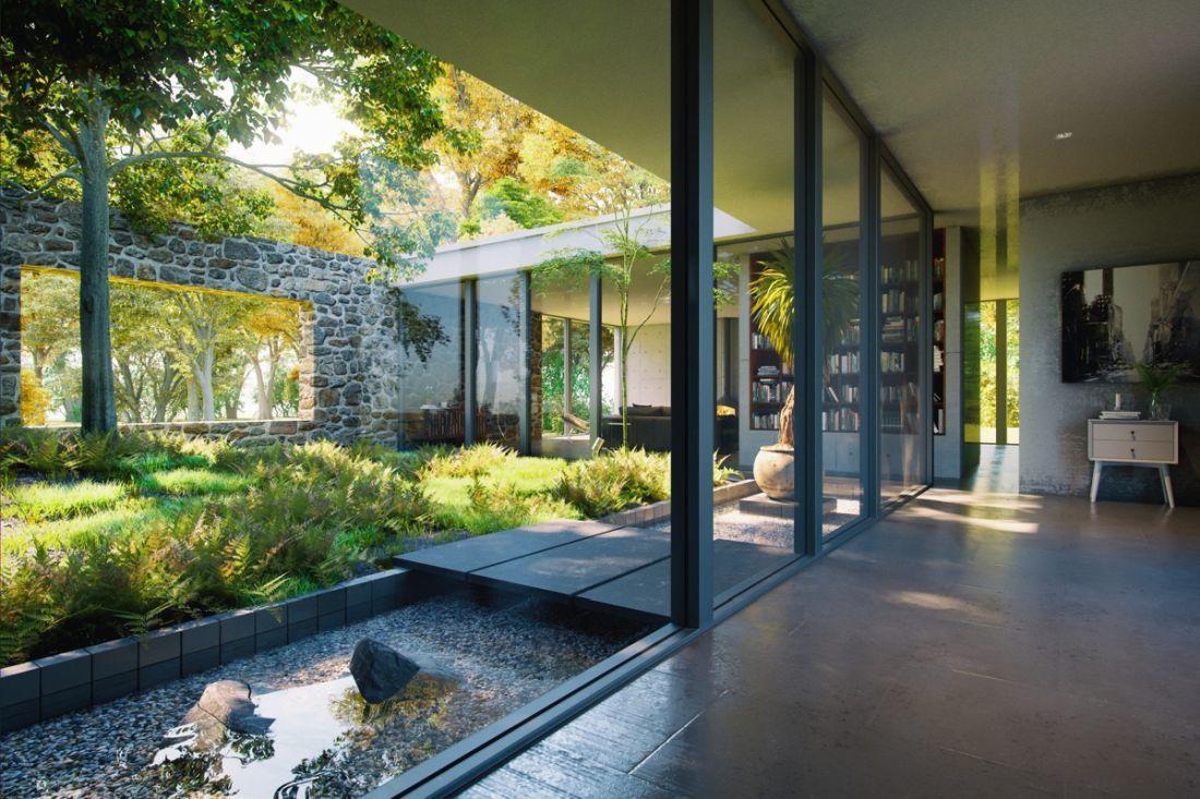 Buja zöld növényekkel kialakított belső udvar