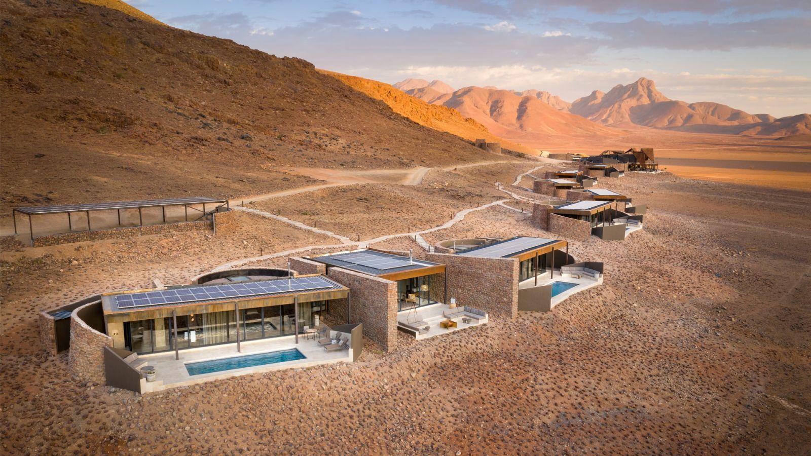 Különálló épületek sora napenergiával