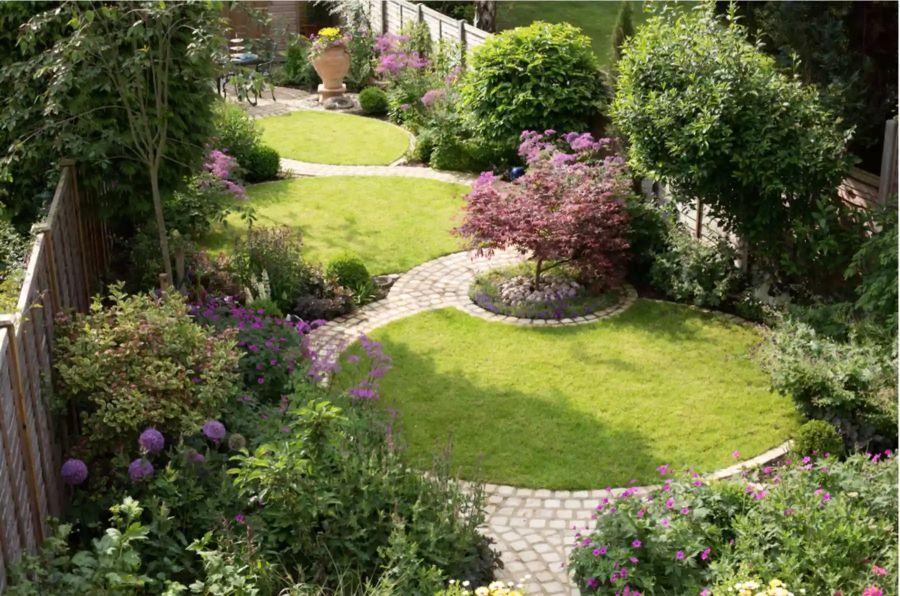 Hosszúkás kert kialakítása szekciókkal