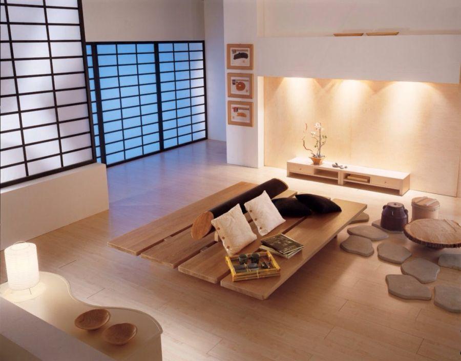 Japán minimál nappali lakberendezés