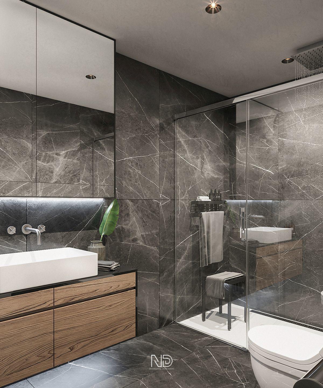 Zuhanyzós fürdőszoba sötét színű kőmintás burkolólapokkal