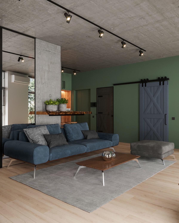 Zöld fal és natúr színű padlóburkolat