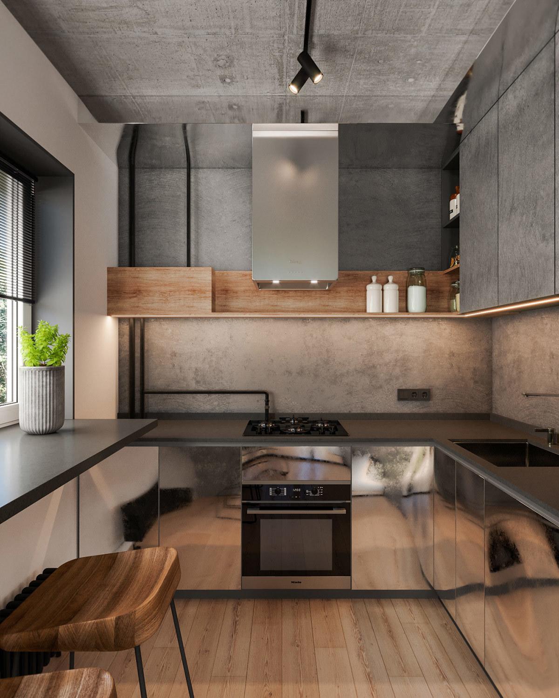Fényes fém színű alsó szekrények a konyhában