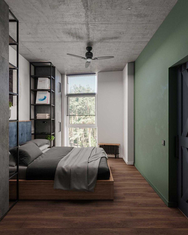 A hálószoba belső fala is zöld