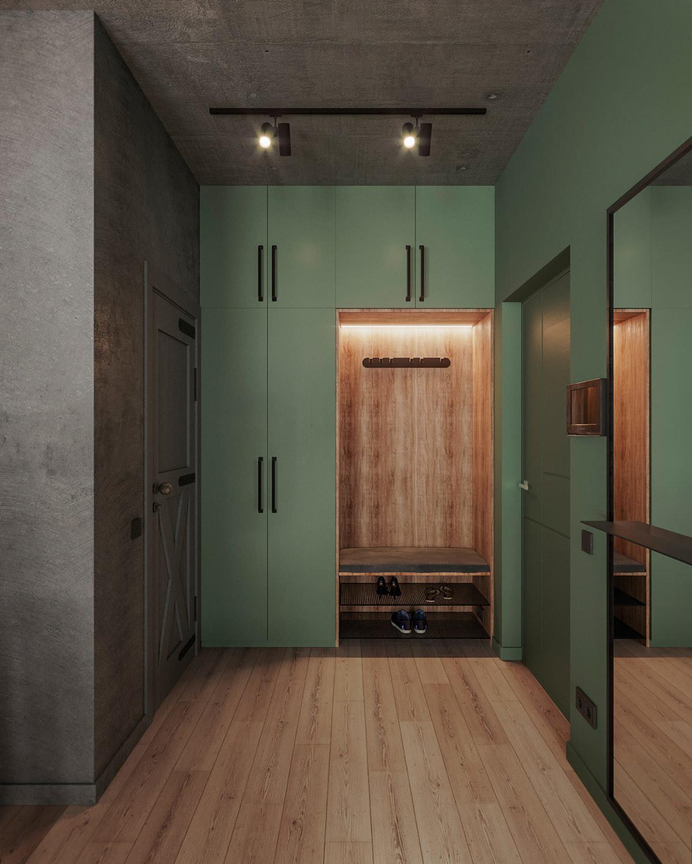 Előszoba zöld beépített szekrényekkel