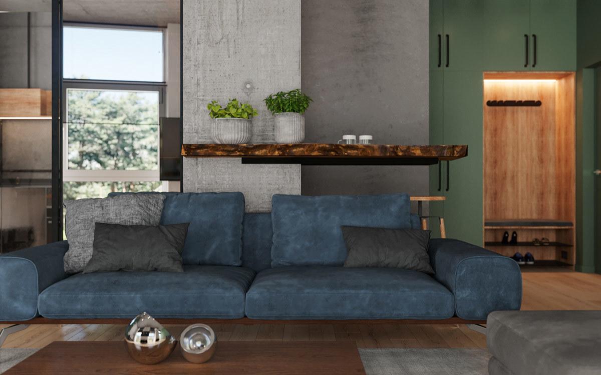 Modern kék kanapé a nappali centrumába