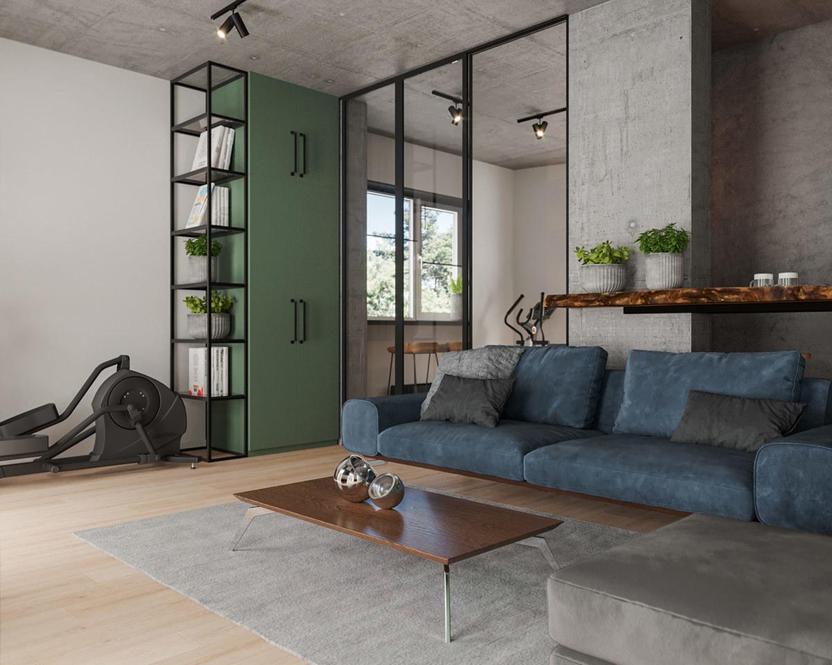 Zöld szekrény és kék kanapé betonos felületek környezetében