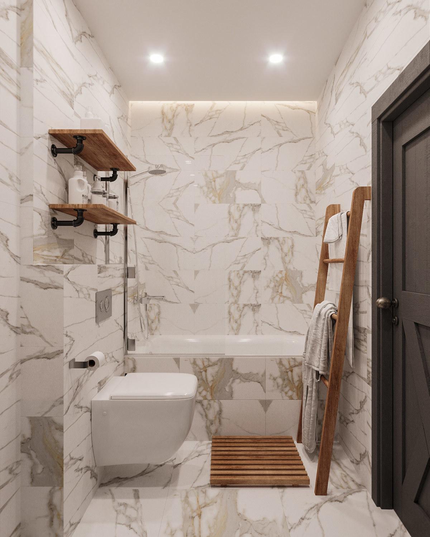 Elegáns márvány mintás fürdőszoba