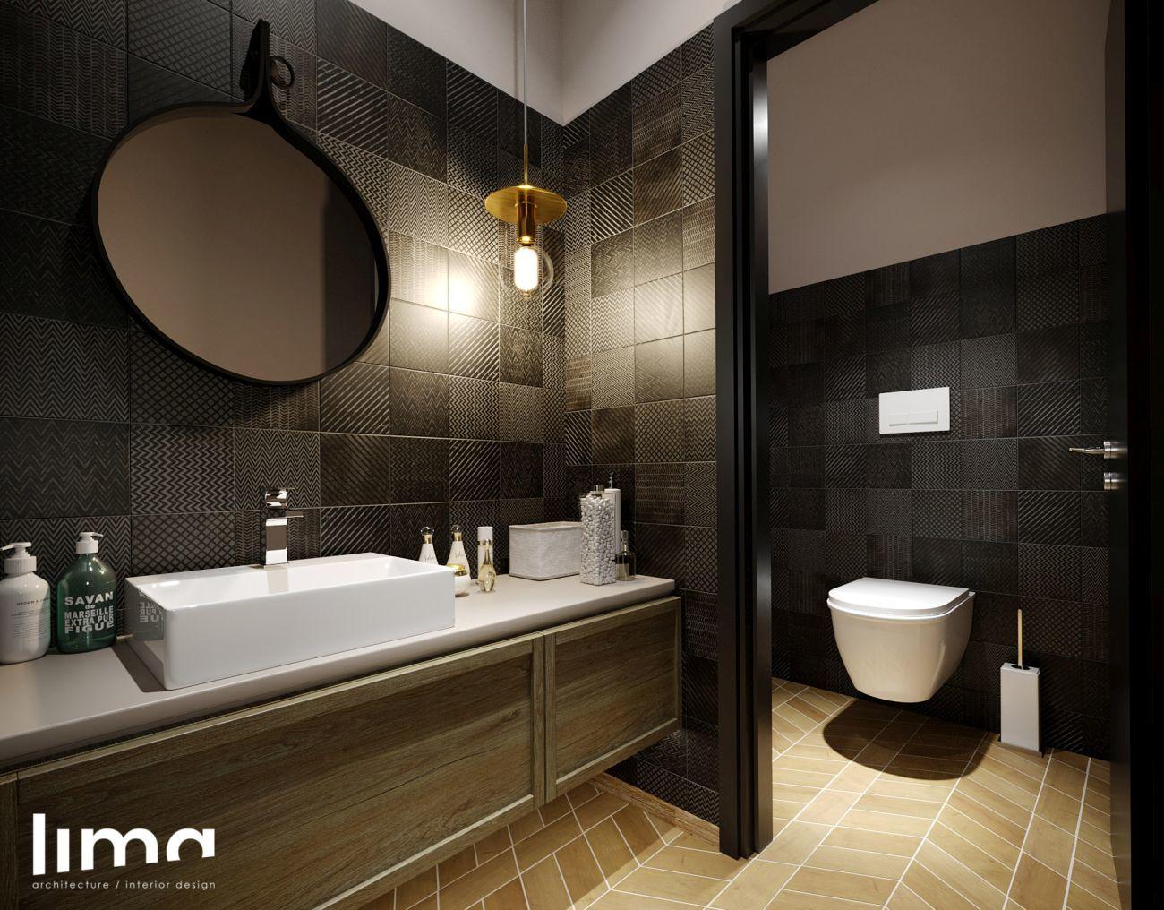 Fürdőszoba férfias színekkel