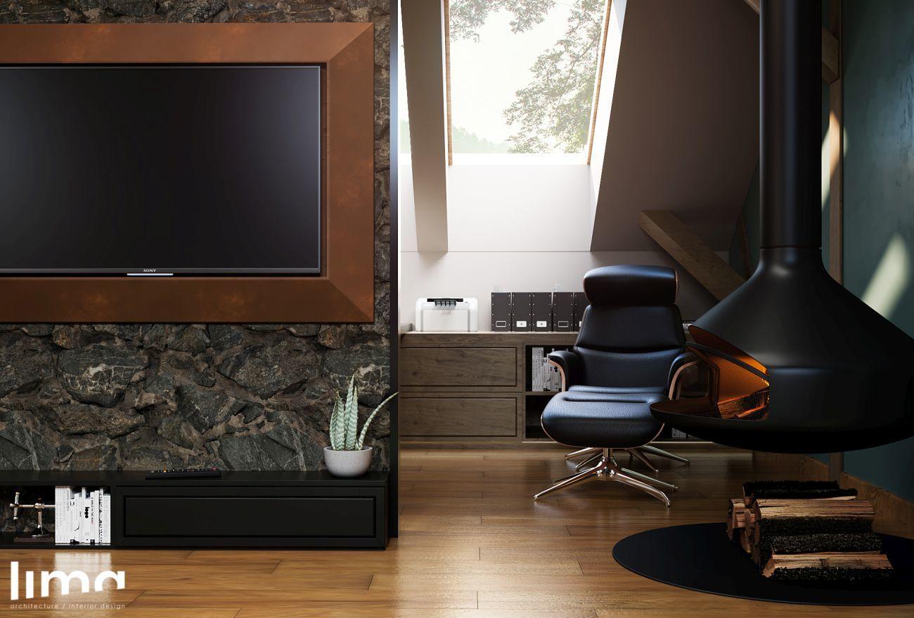 Különleges kandalló és tv a kanapé előtt