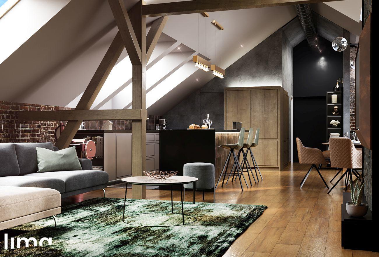 Tetőtéri lakás szigetes konyhája