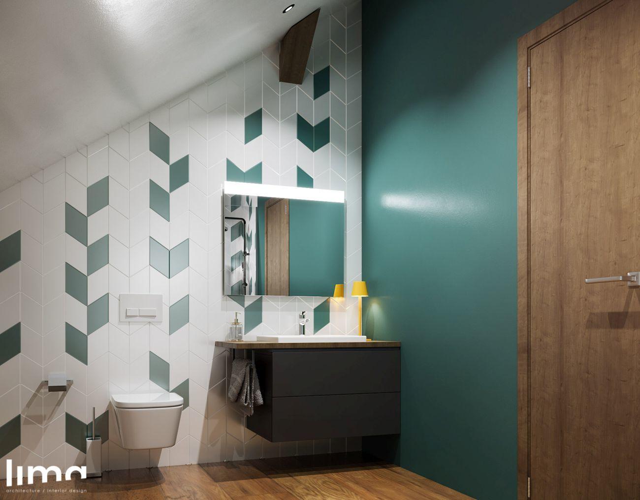 Fürdőszoba türkiz fallal