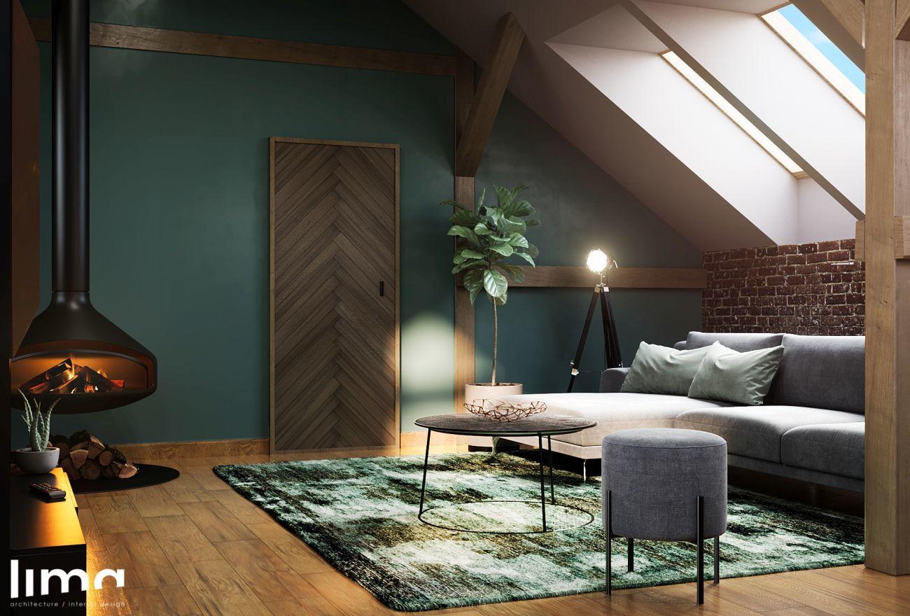Mélyzöld falszín a nappaliban
