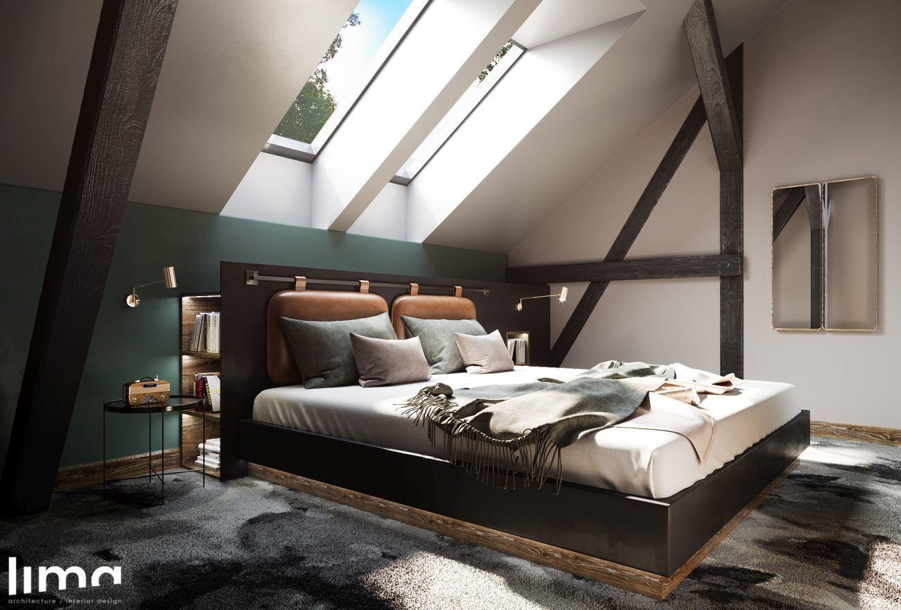 Tetőtéri hálószoba látszó gerendákkal
