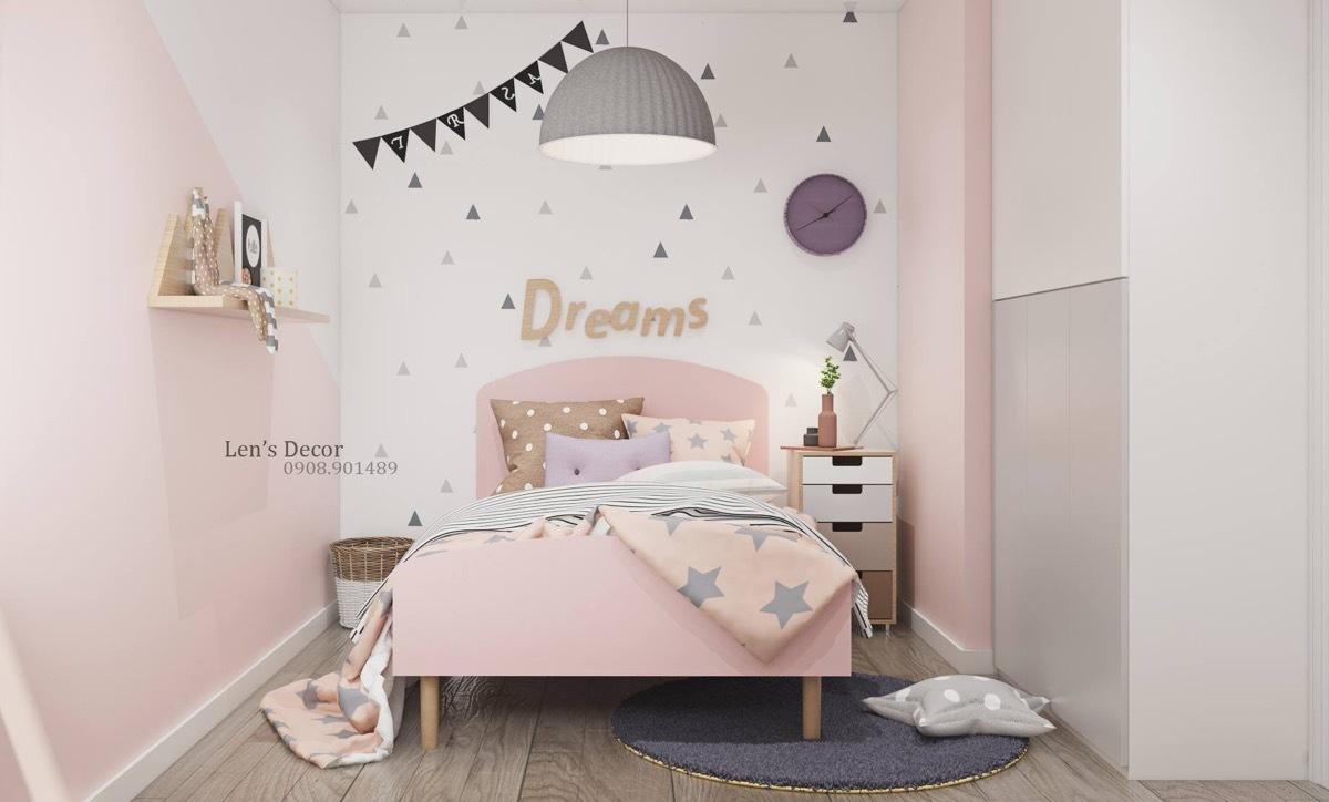 Rózsaszínű gyerekszoba részlet rózsaszínű ággyal