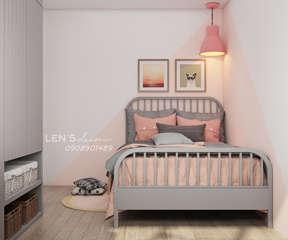 Gyerekszobai ágy ötletes lápával és faldekorációval