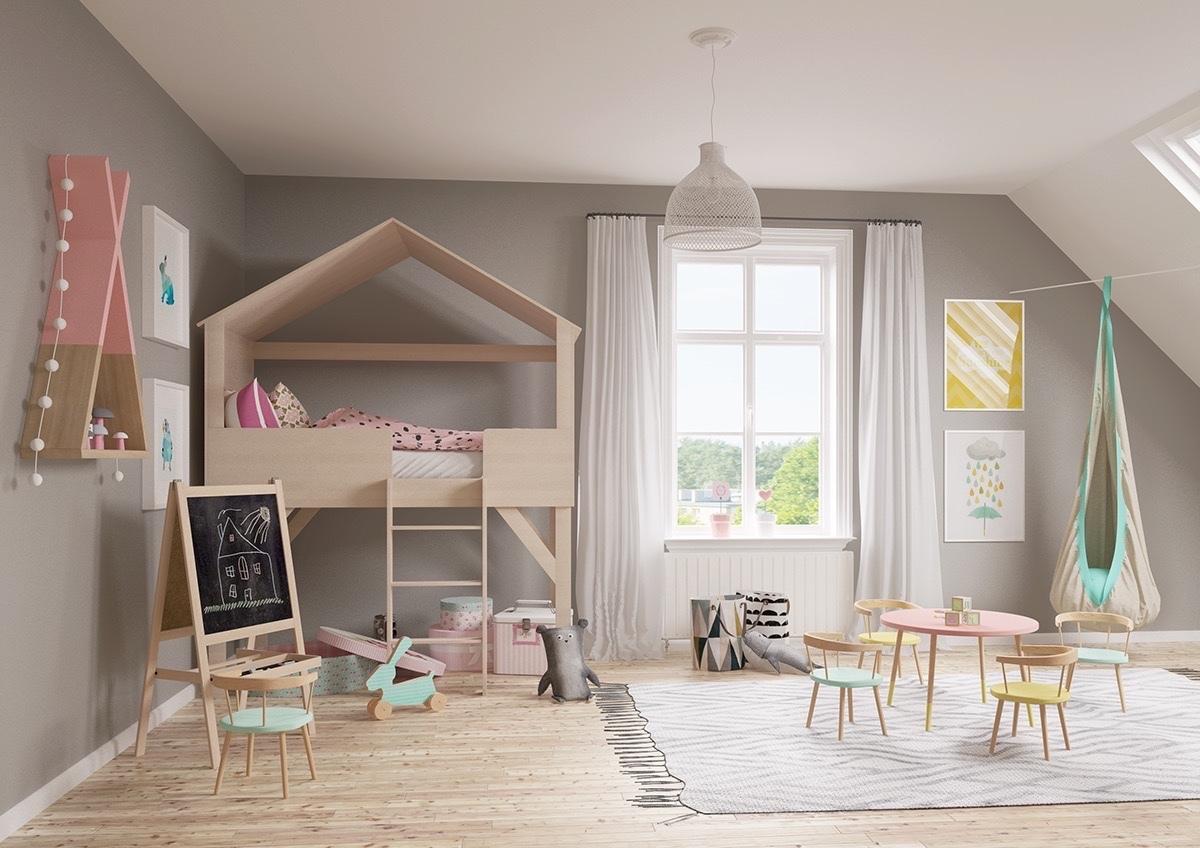 Házikó alakú ágy fiúszobába
