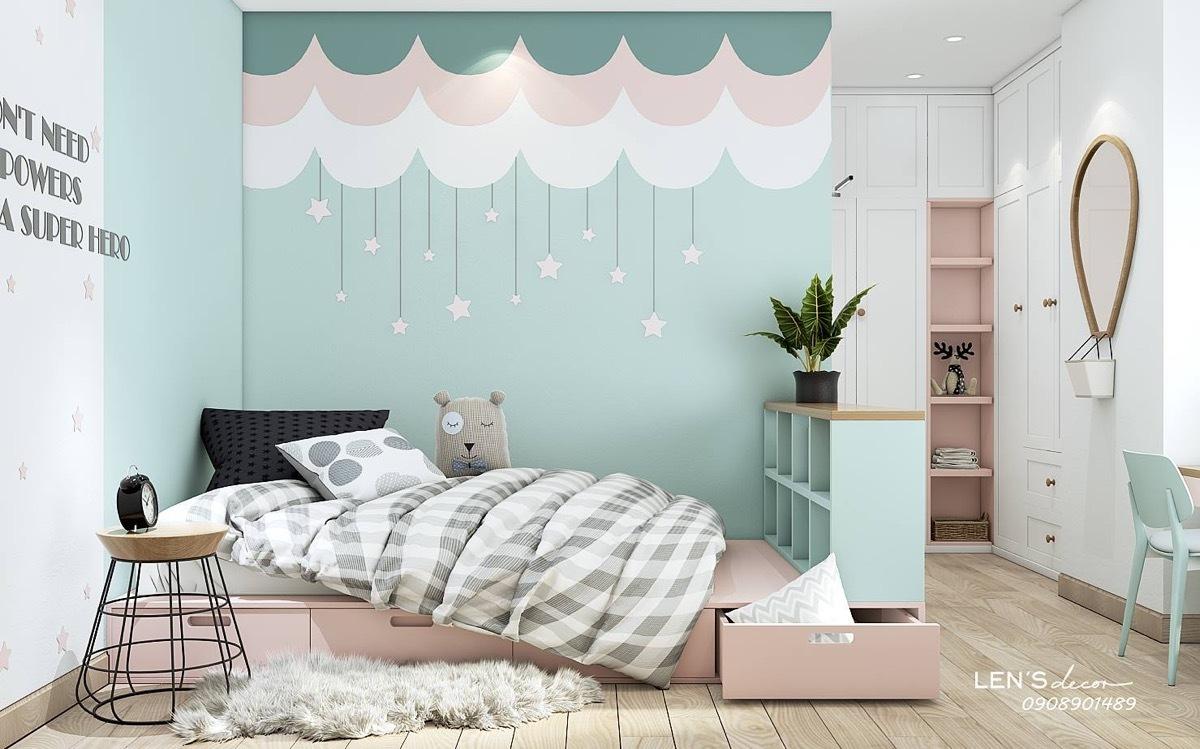 Rózsaszínű, fehér és zöld faldekoráció gyerekszobába