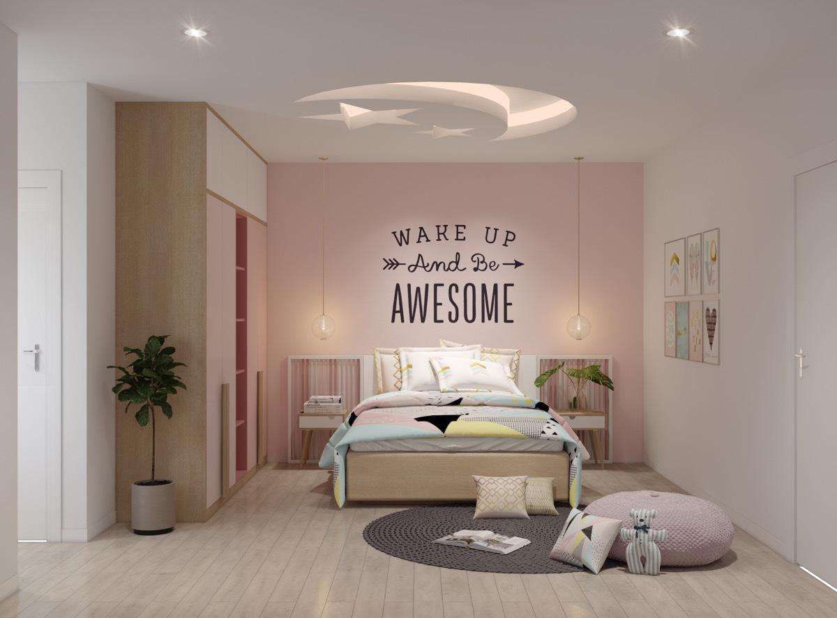 Rózsaszínű szoba különleges hold és csillag mintás álmennyezettel