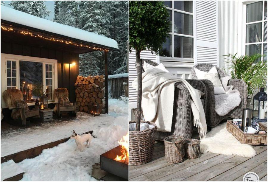 Fotel és pléd teraszon és verandán télen