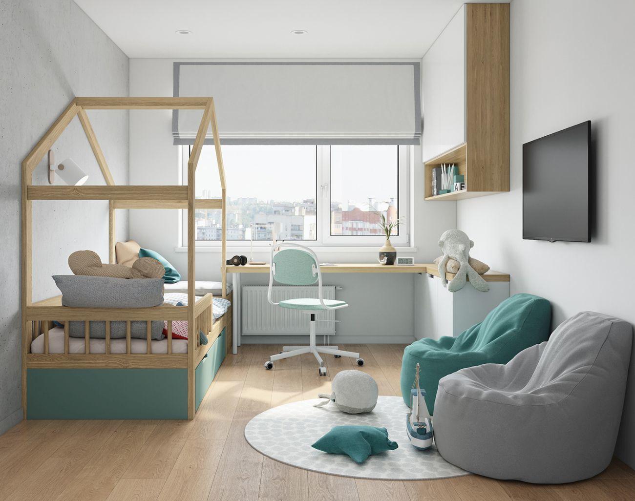 Házikó formájú ágykeret a gyerekszoba látványeleme