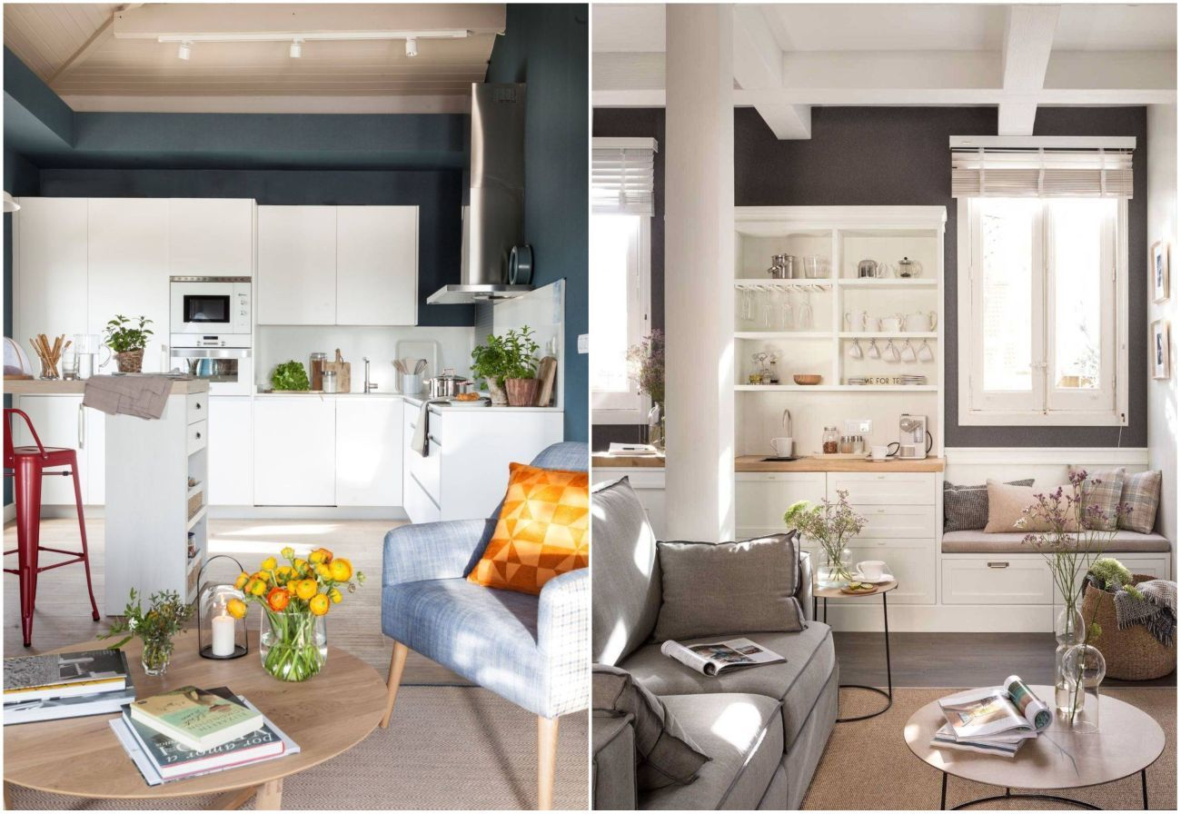 Fehér konyhák kontrasztos falszínekkel