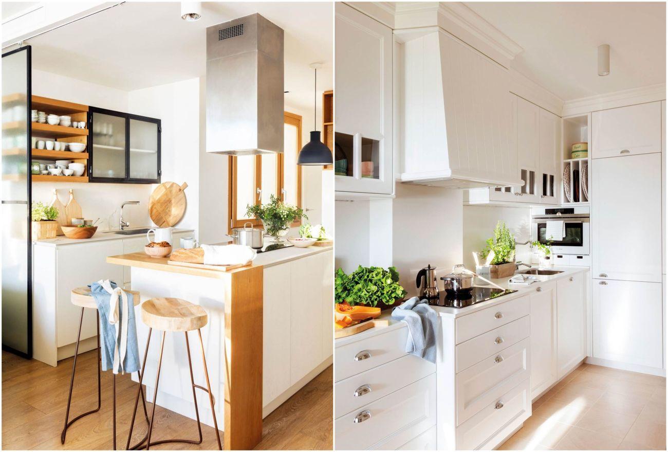 Teljesen fehér, illetve nyers fa színekkel kombinált konyhabútorok