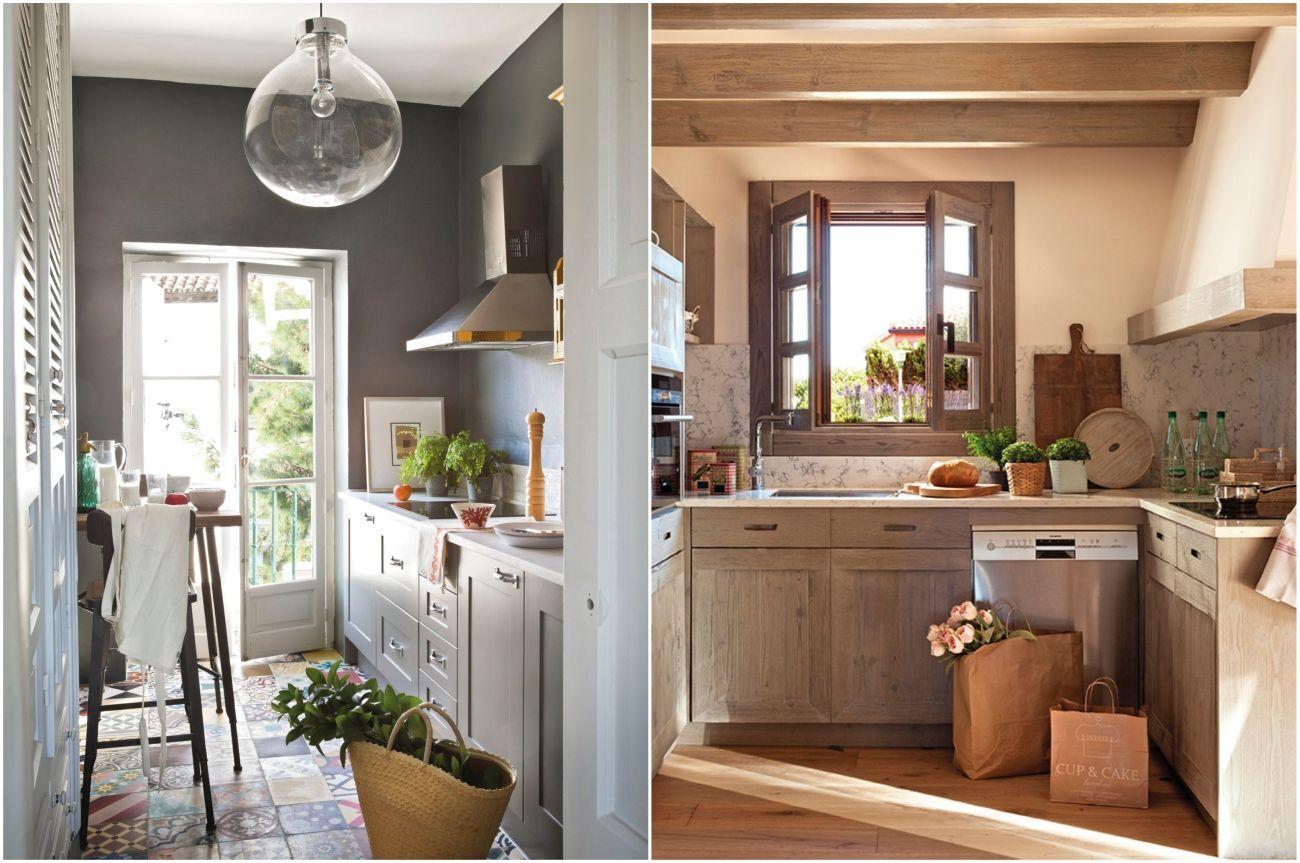 Szürke konyha cementlap burkolattal és egy konyha ahol a faszínek dominálnak
