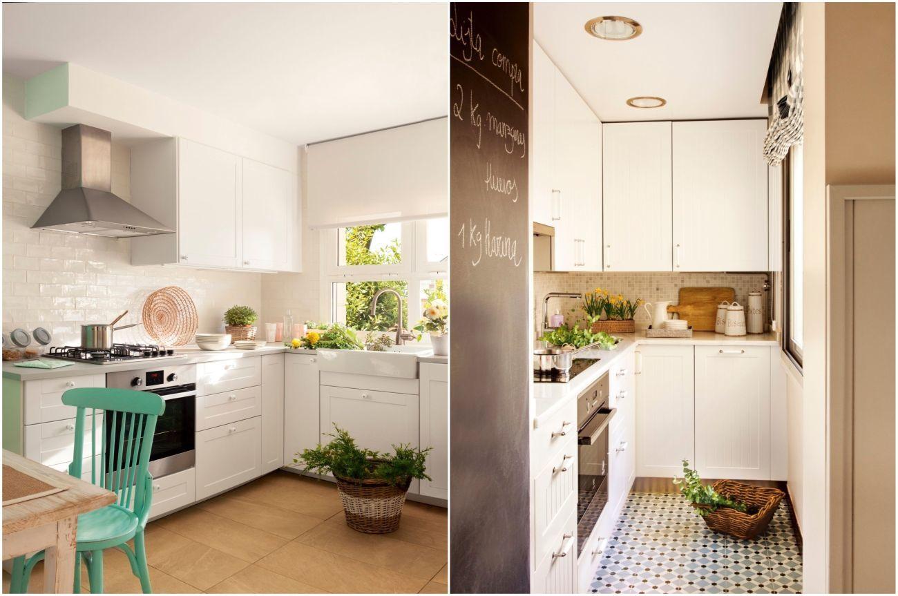 Fehér konyha egyszínű és mintás padlóburkolattal