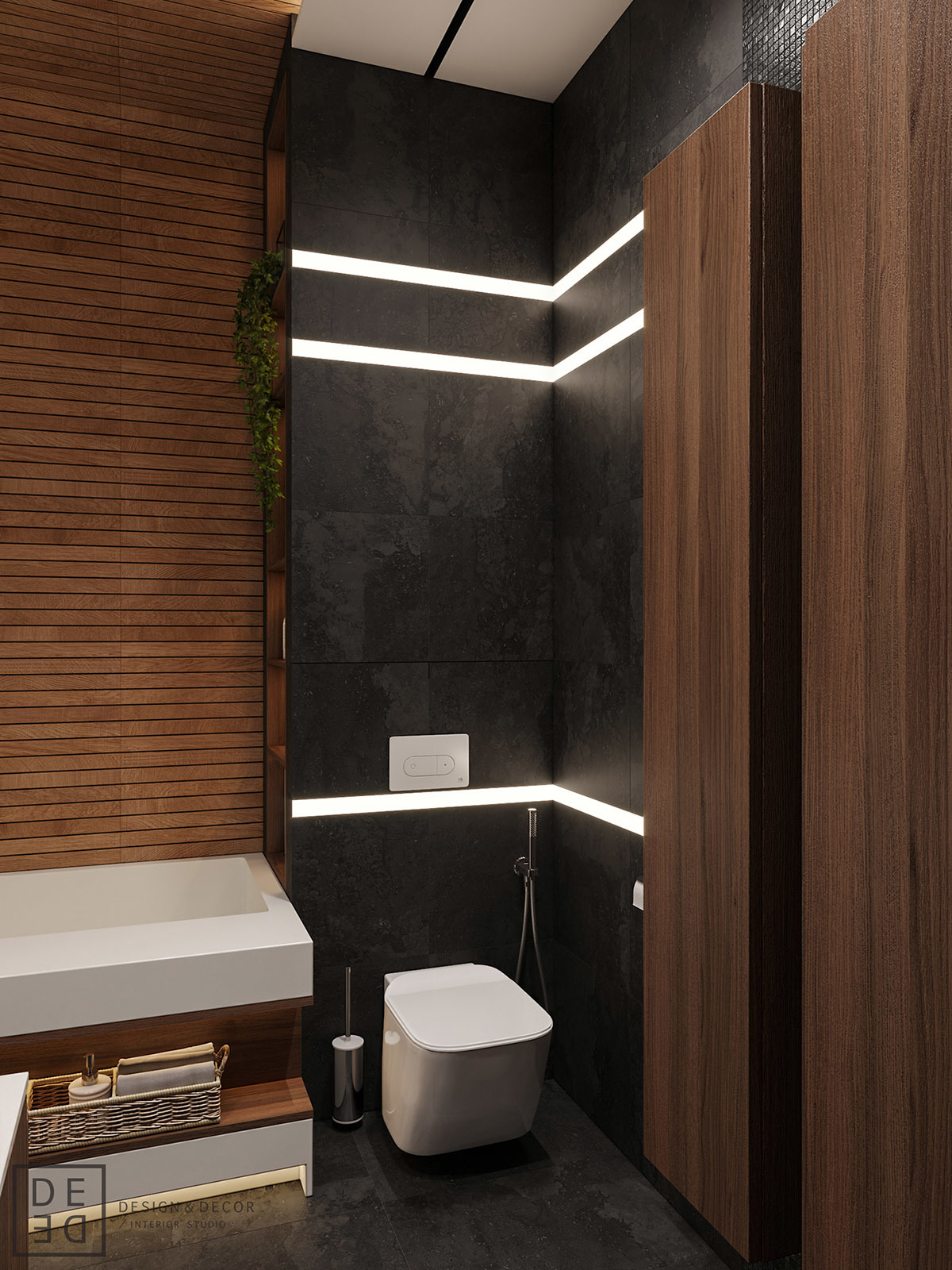 Modern fali wc led fényekkel