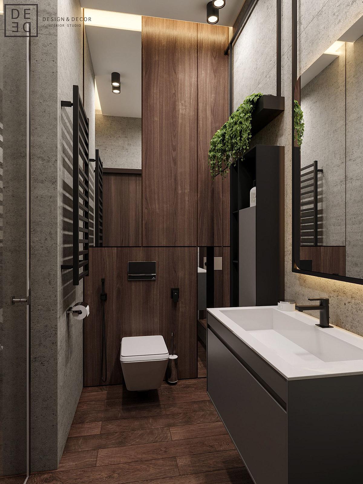 Vendég fürdőszoba fali tárolókkal