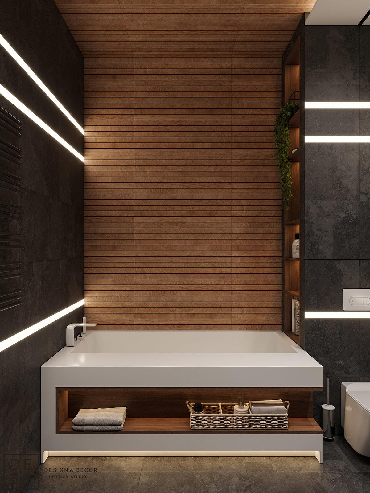 Fürdőkád különleges tárolópolccal