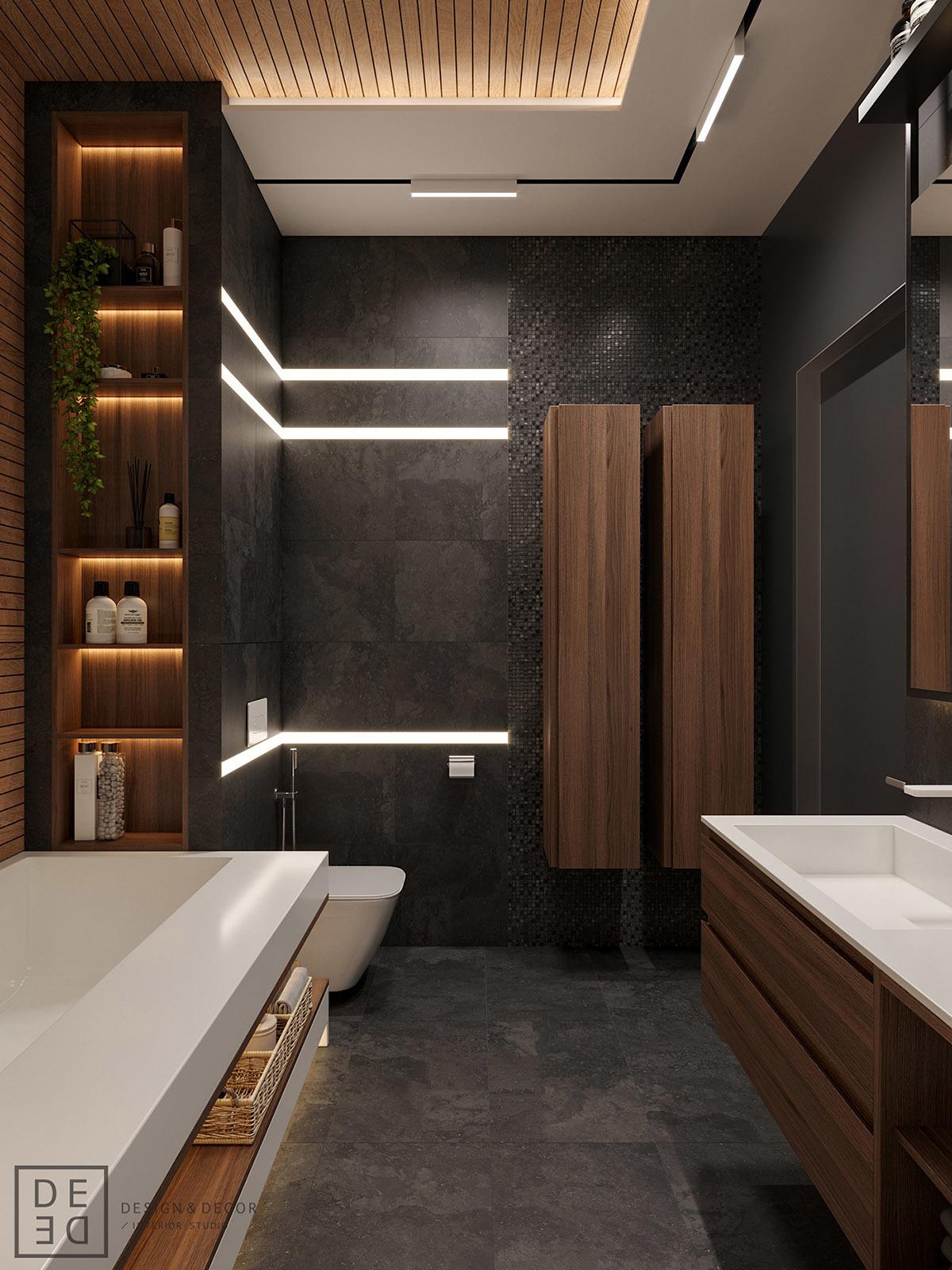 Sötétszürke fürdőszoba rejtett világítással