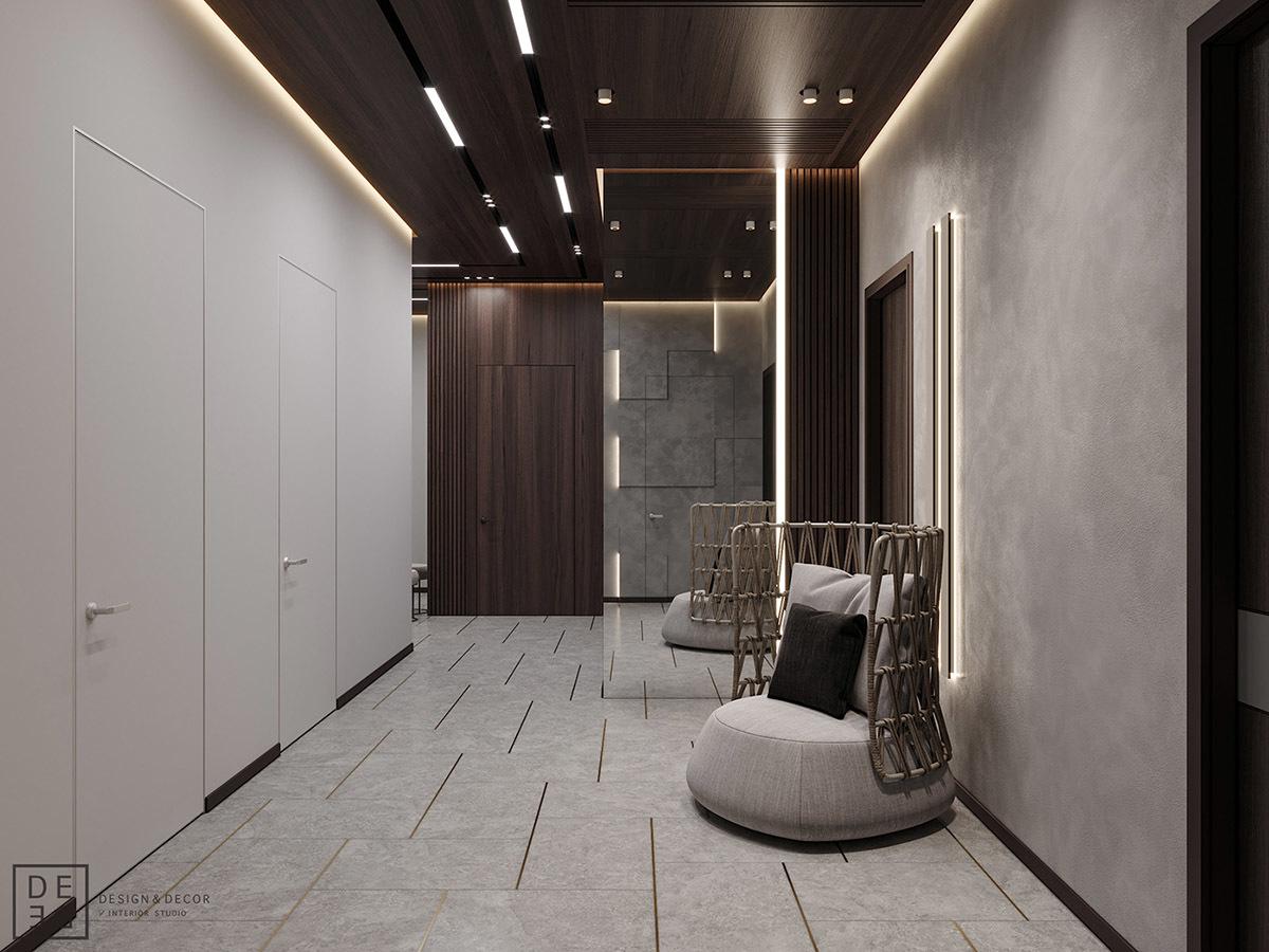 Széles előszoba és közlekedő design fotelekkel