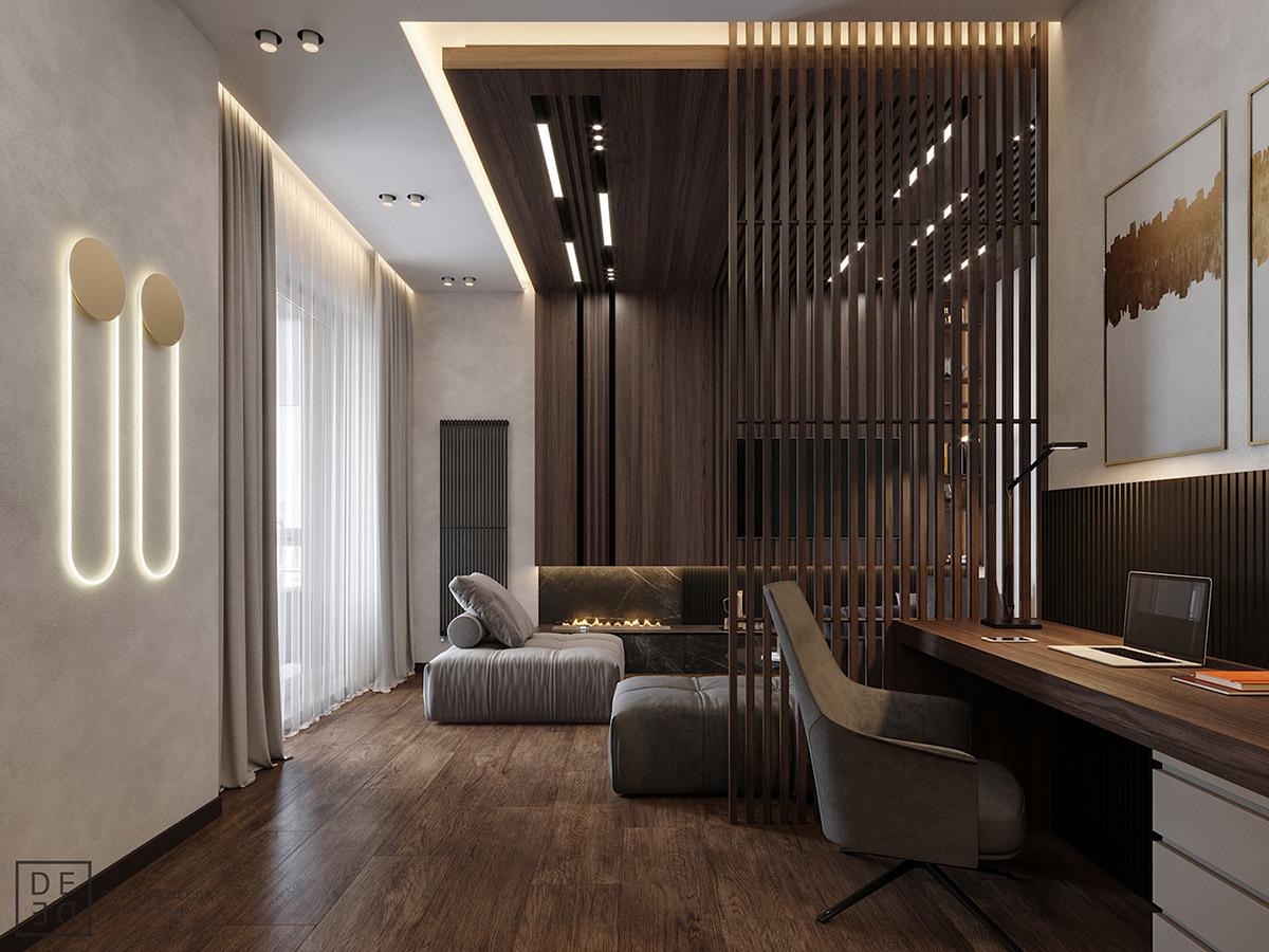 Léces térelválasztó és design radiátor a falon
