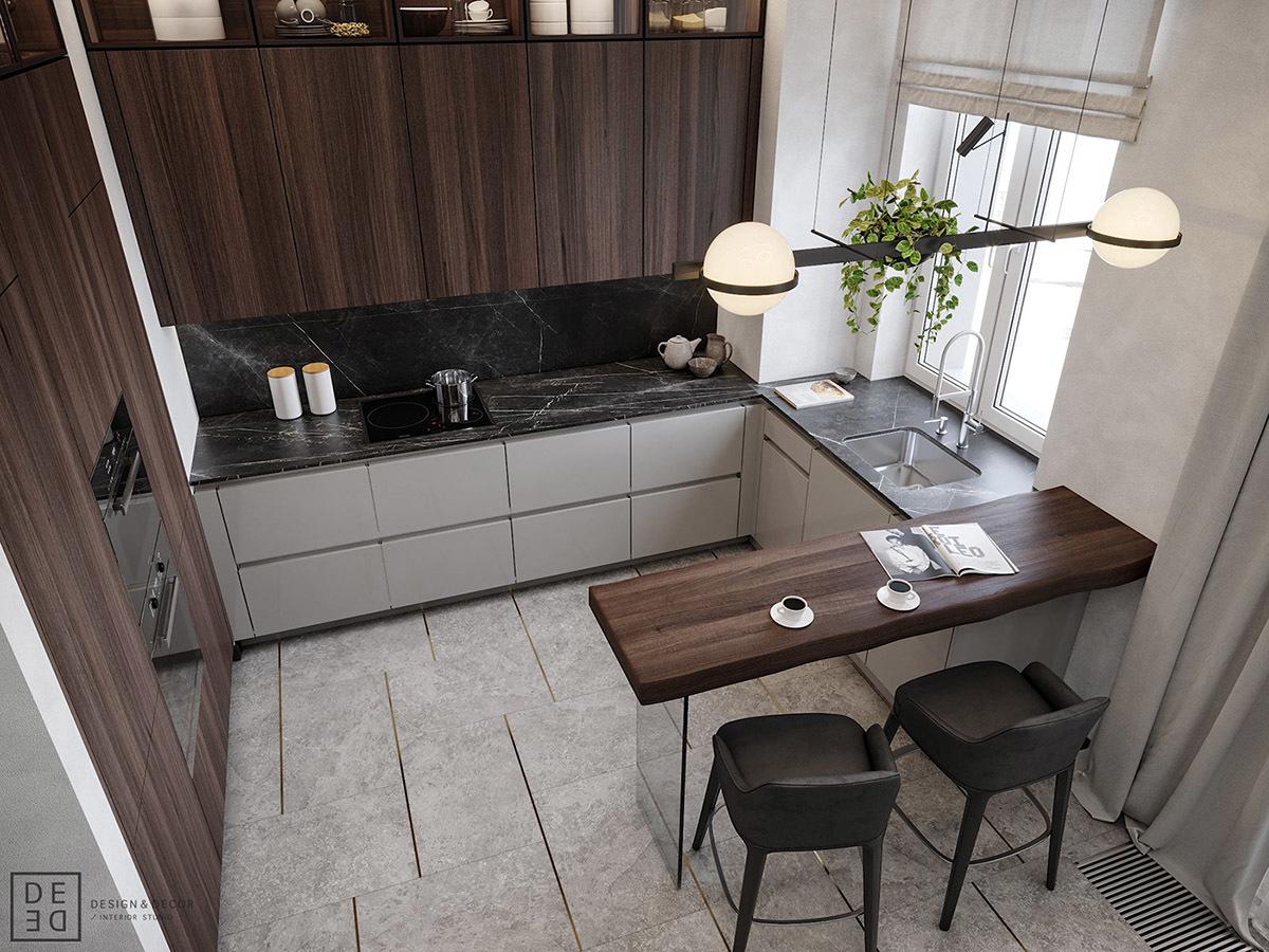 A konyhabútor is sötétbarna színt kapott