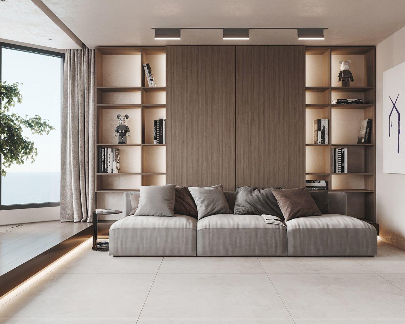 A nappali szekrény és a leddel megvilágított nyitott polcok