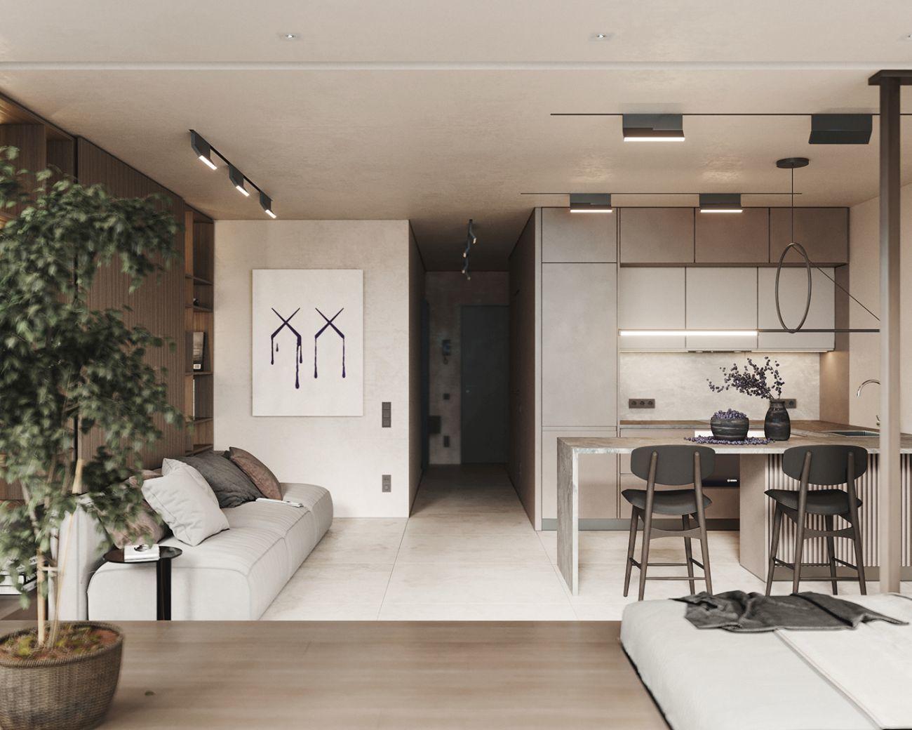 45 m2-es lakás nappalija és konyhája