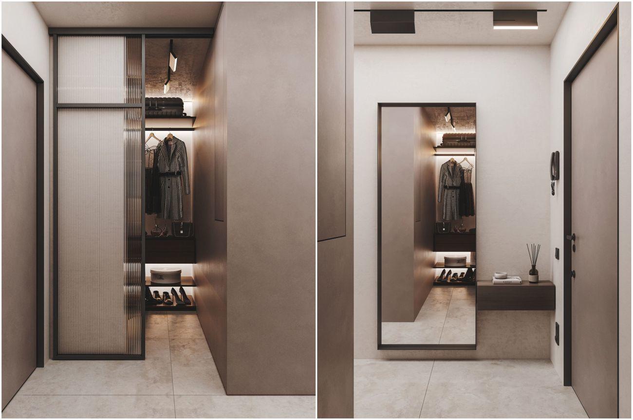 Zárt előszobai szekrény és tükör