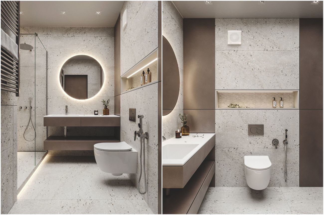 Kőmintás fürdőszobai burkolat és barna bútorok