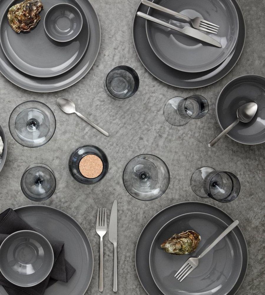 Szürke kerámia étkészlet, pohárkészlet