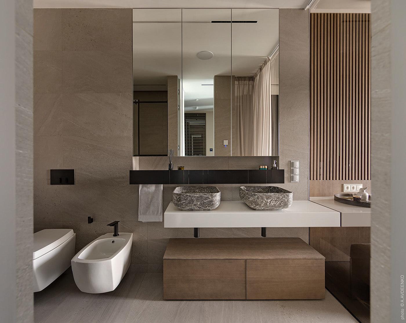 Világosbarna színű fürdőszoba dupla mosdóval