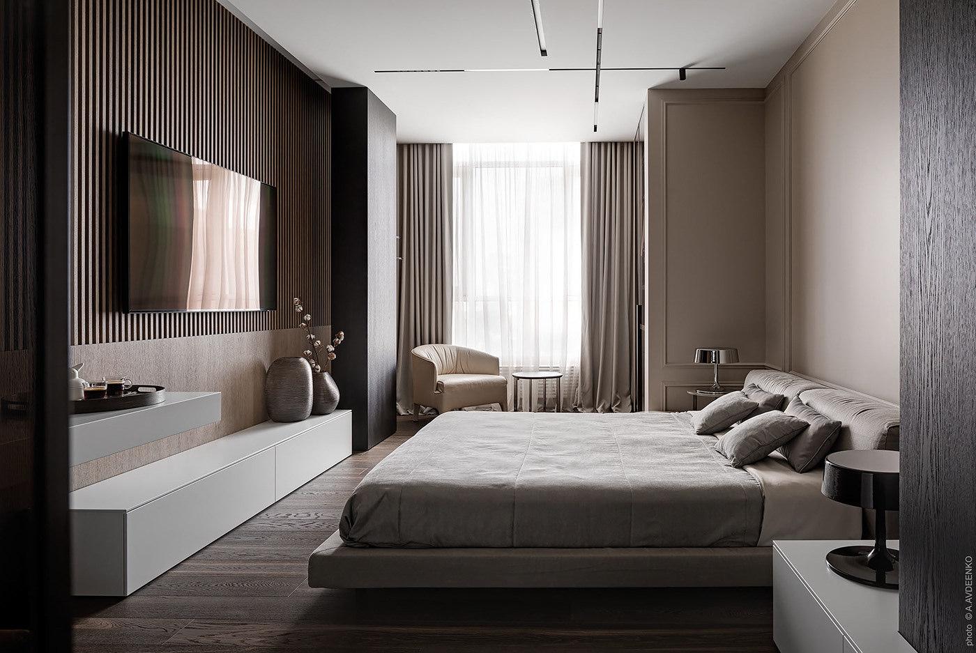 A hálószobában is a sötétbarna az uralkodó szín amit natúr színek egészítenek ki