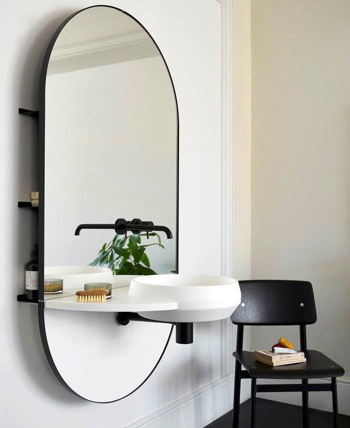 Fali mosdó álló tükörrel