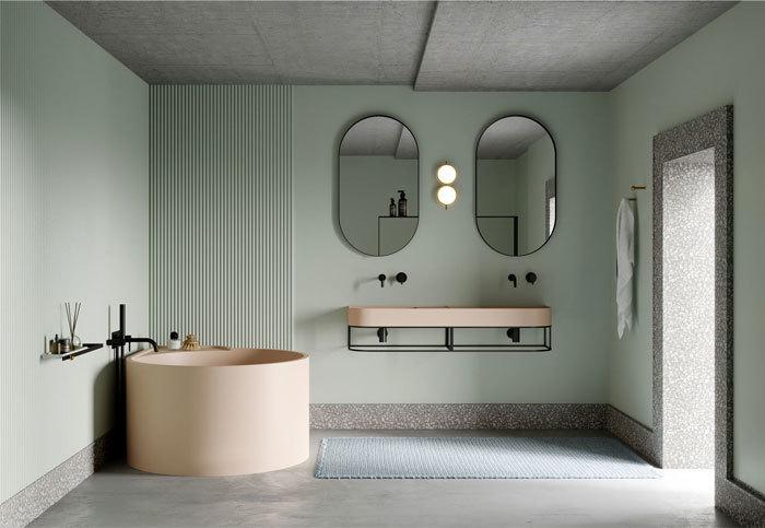 Világoszöld falszín fürdőszoba