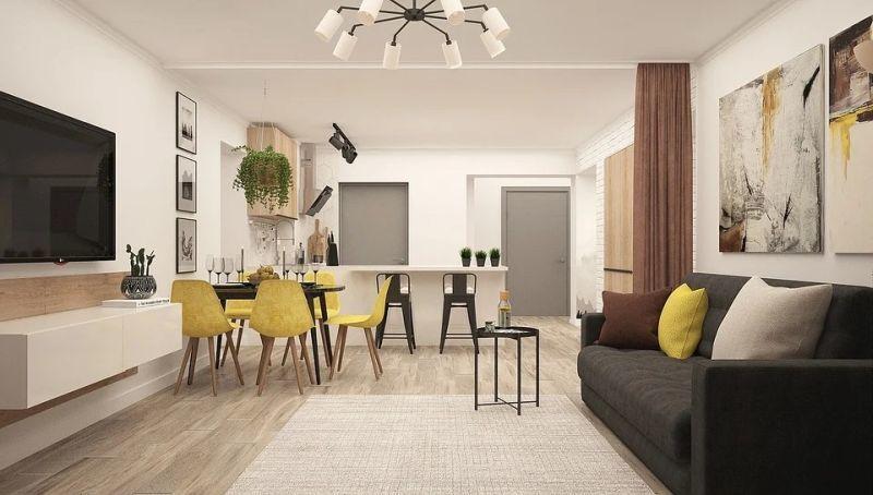 Modern étkező sárga étkezőszékekkel