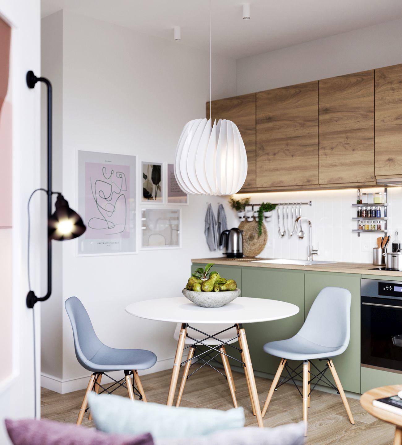Kerek étkezőasztal világoskék és fehér székekkel